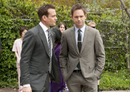 "SUITS -- ""Meet the New Boss"" Episode 203 -- Pictured: (l-r) Gabriel Macht as Harvey Specter, Patrick J. Adams as Mike Ross -- (Photo by: Christos Kalohoridis/USA Network)"