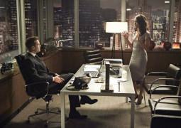 "SUITS -- ""Bad Faith"" Episode 309 -- Pictured: (l-r) Gabriel Macht as Harvey Specter, Abigail Spencer as Dana Scott -- (Photo by: Ian Watson/USA Network)"